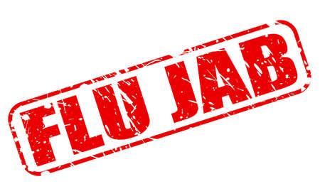flu prevention: FLU JAB red stamp text on white