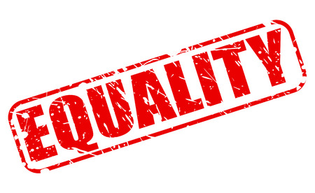 inequality: EQUALITY red stamp text on white Stock Photo