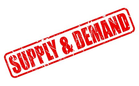 in demand: SUPPLY AND DEMAND red stamp text on white Stock Photo