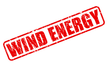 greenhouse gas: WIND ENERGY red stamp text on white