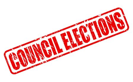 local council election: COUNCIL ELECTIONS red stamp text on white Stock Photo