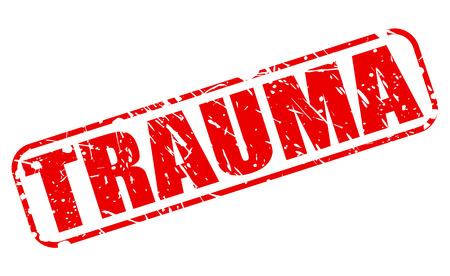 distressing: TRAUMA red stamp text on white Stock Photo