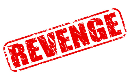 venganza: Texto VENGANZA sello rojo sobre blanco Foto de archivo