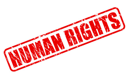 fair trial: HUMAN RIGHTS red stamp text on white