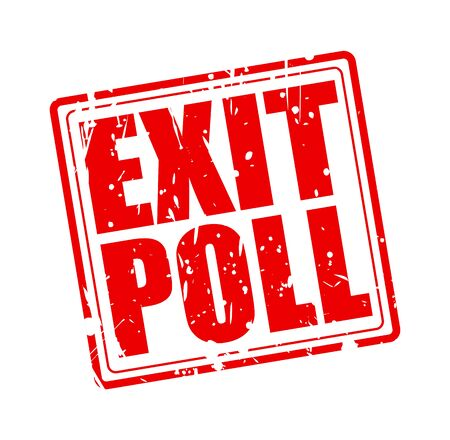 poll: EXIT POLL red stamp text on white Stock Photo