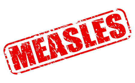 measles: MEASLES red stamp text on white