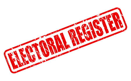 turnout: ELECTORAL REGISTER red stamp text on white