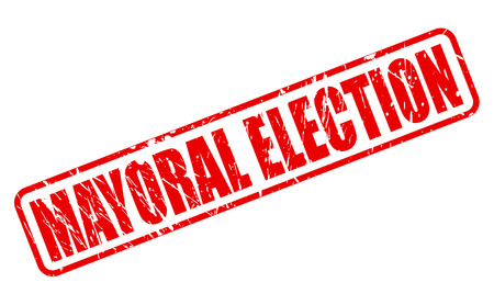 mayoral: MAYORAL ELECTION red stamp text on white Stock Photo