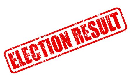 turnout: ELECTION RESULT red stamp text on white