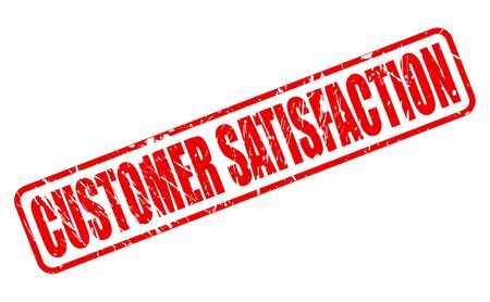 clientele: CUSTOMER SATISFACTION red stamp text on white