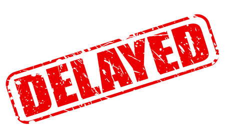 halted: DELAYED red stamp text on white Stock Photo