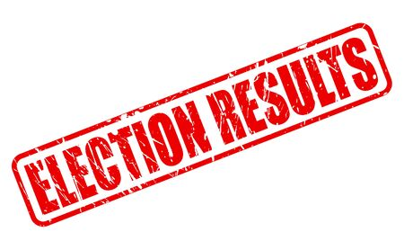 local council election: ELECTION RESULTS red stamp text on white Stock Photo