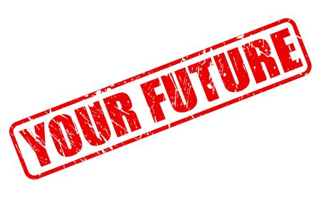 forthcoming: YOUR FUTURE red stamp text on white