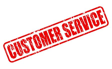 clientele: CUSTOMER SERVICE red stamp text on white