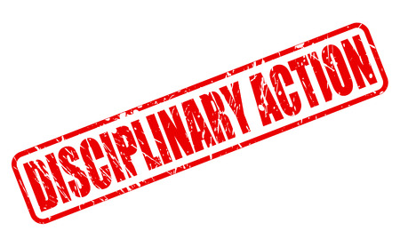 disciplinary action: DISCIPLINARY ACTION red stamp text on white Stock Photo