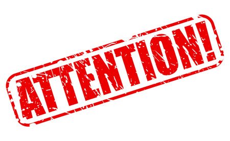 be aware: ATTENTION red stamp text on white Stock Photo
