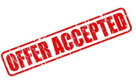 accepted: OFFER ACCEPTED red stamp text on white Stock Photo
