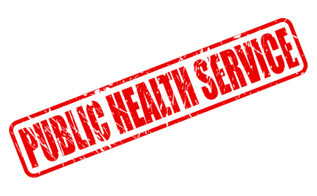 public health: SERVICIO DE SALUD P�BLICA texto del sello rojo sobre blanco Foto de archivo