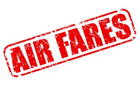 白の航空運賃赤いスタンプ テキスト 写真素材