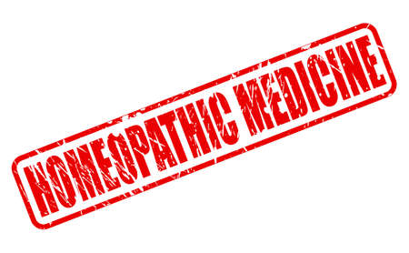 homeopathic: HOMEOPATHIC MEDICINE red stamp text on white Stock Photo