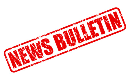 newsroom: NEWS BULLETIN red stamp text on white Stock Photo