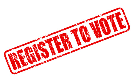 suffrage: REGISTER TO VOTE red stamp text on white