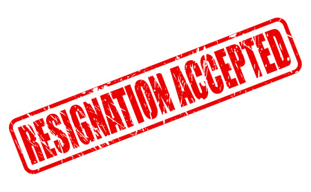 resignation: RESIGNATION ACCEPTED red stamp text on white Stock Photo