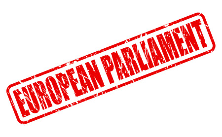 council: EUROPEAN PARLIAMENT red stamp text on white