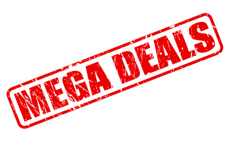 retail therapy: MEGA DEALS red stamp text on white Stock Photo