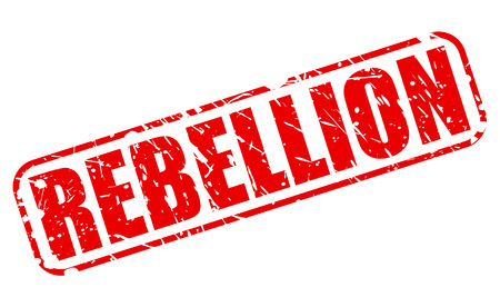 dissent: REBELLION red stamp text on white