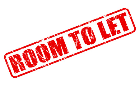 let out: ROOM TO LET red stamp text on white