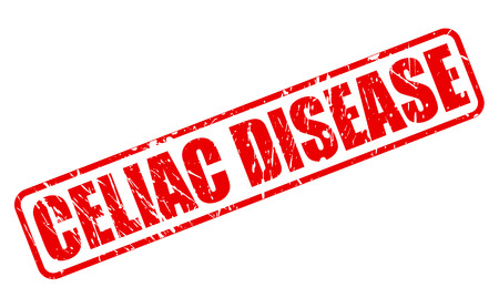 coeliac: CELIAC DISEASE red stamp text on white