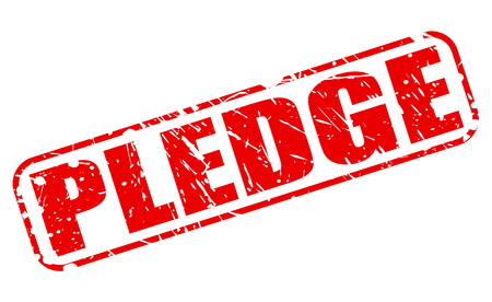 pledge: PLEDGE red stamp text on white Stock Photo