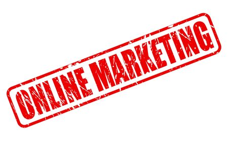 retailing: ONLINE MARKETING red stamp text on white Stock Photo