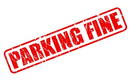 dues: PARKING FINE red stamp text on white