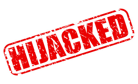 hijacked: HIJACKED red stamp text on white Stock Photo