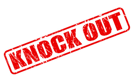 KNOCK OUT red stamp text on white Stock Photo