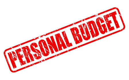 PERSONAL BUDGET red stamp text on white