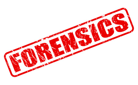 pathologist: FORENSICS red stamp text on white