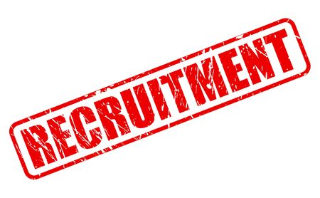 enlisting: RECRUITMENT red stamp text on white Stock Photo