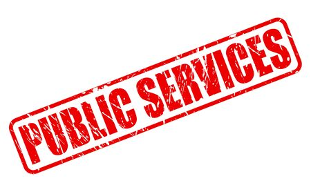 public services: PUBLIC SERVICES red stamp text on white