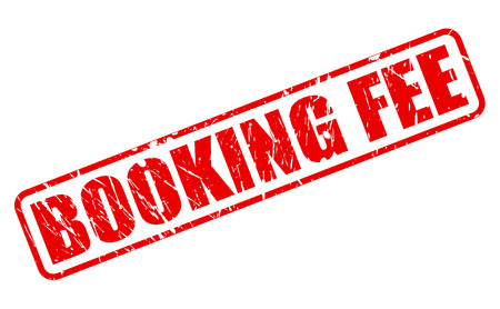 fee: BOOKING FEE red stamp text on white Stock Photo