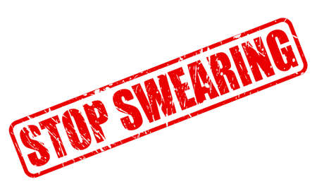 swearing: STOP SWEARING red stamp text on white Stock Photo