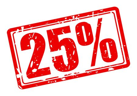 25 cents: 25 percent red stamp text on white