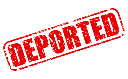 deported: DEPORTED red stamp text on white Stock Photo