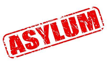 asylum: ASYLUM red stamp text on white