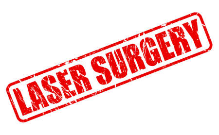 lazer: LASER SURGERY red stamp text on white Stock Photo