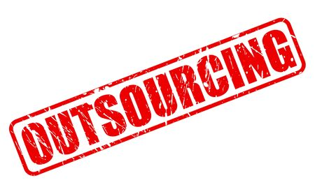 offshoring: OUTSOURCING red stamp text on white