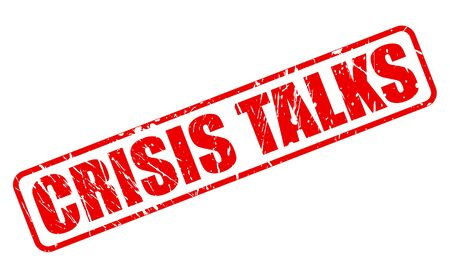 talks: CRISIS TALKS red stamp text on white