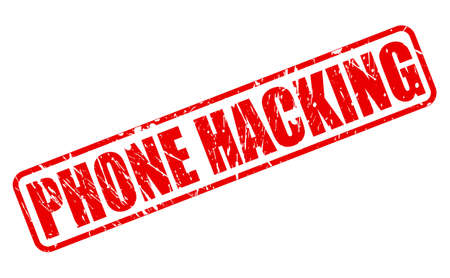 hacking: PHONE HACKING red stamp text on white Stock Photo